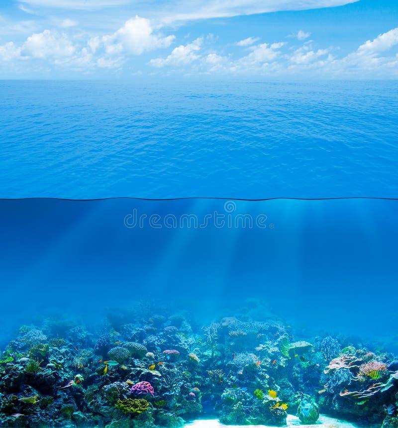 Bajo el agua profundamente con la superficie del agua fotos de archivo libres de regalías