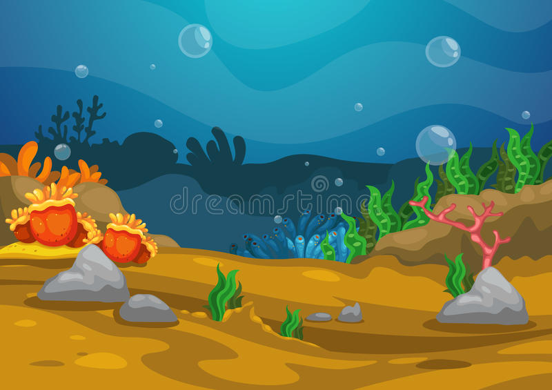 Bajo fondo del mar ilustración del vector