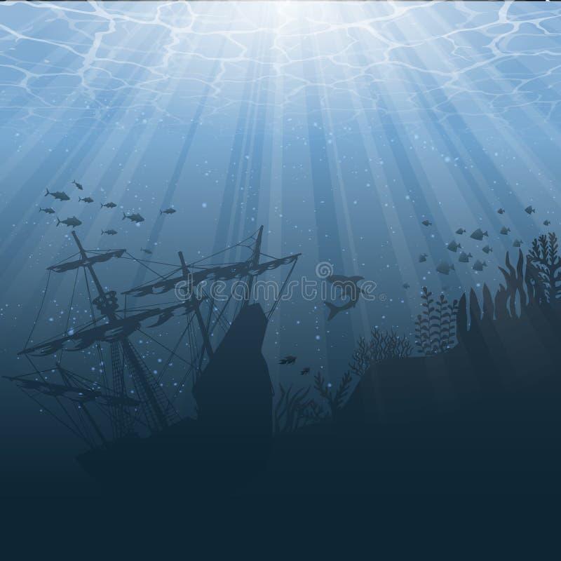 Bajo fondo del mundo del agua libre illustration