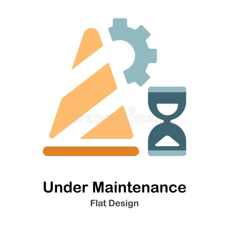 Bajo icono plano del mantenimiento stock de ilustración