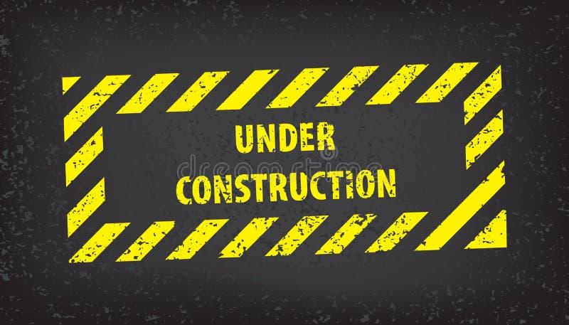 Bajo muestra de la construcción en textura de tierra gris Ejemplo del vector para el sitio web Bajo sello de la construcción con  stock de ilustración