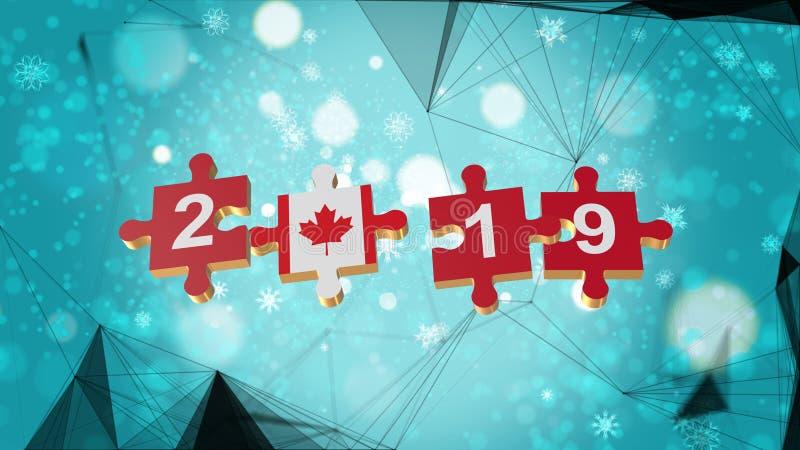 Bajo polivinílico para el rompecabezas a la bandera de Canadá por los Años Nuevos 2019 imagenes de archivo