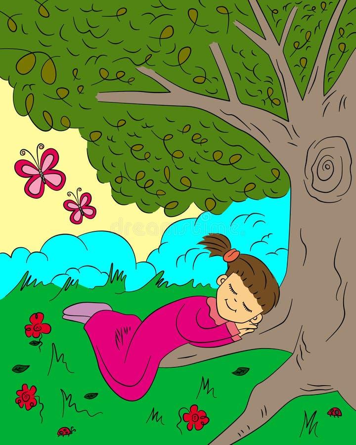 Bajo un árbol stock de ilustración