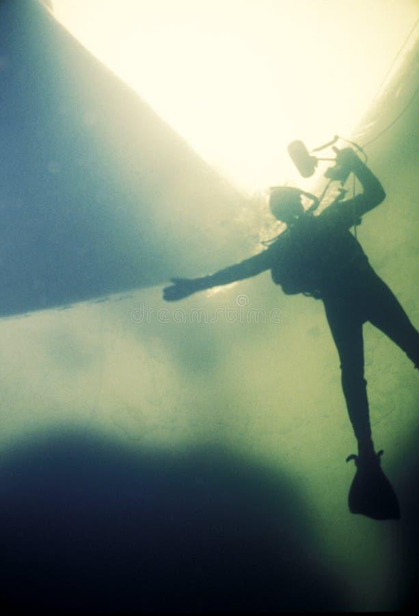 Bajo zambullidor y fotógrafo del hielo foto de archivo