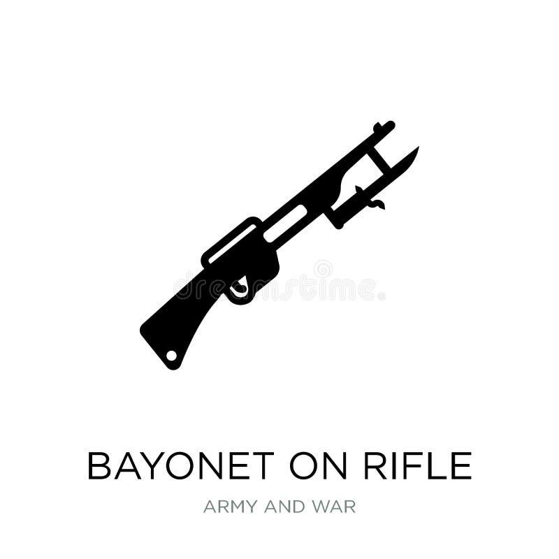 bajonett på gevärsymbol i moderiktig designstil bajonett på gevärsymbolen som isoleras på vit bakgrund bajonett på gevärvektorsym royaltyfri illustrationer