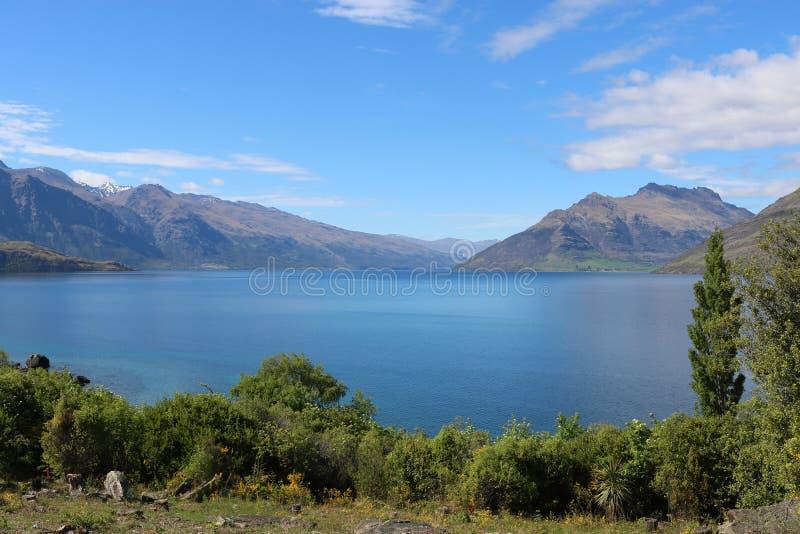 Bajonett-Spitzen und See Wakatipu, Otago, Neuseeland lizenzfreie stockbilder