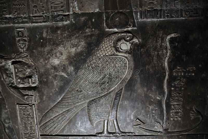 Bajorrelieve de dios egipcio Horus del halcón fotografía de archivo