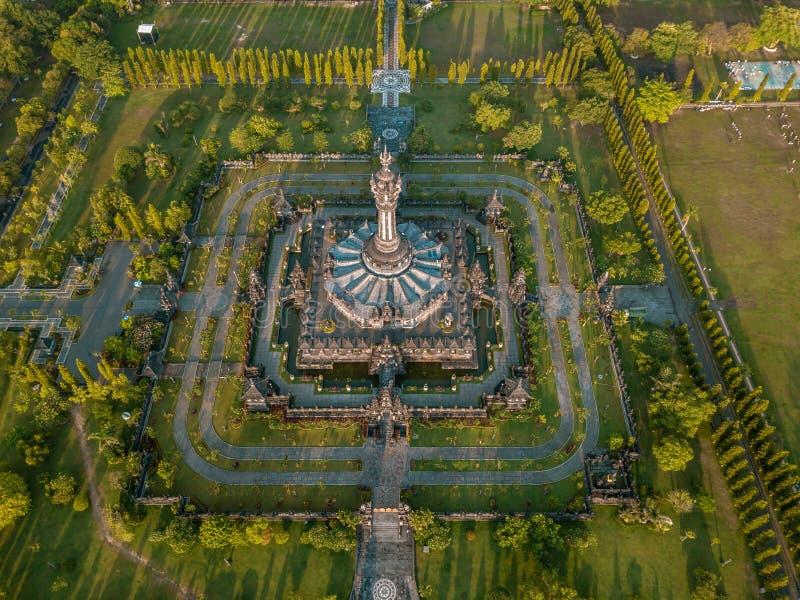 Bajra Sandhi纪念碑寄生虫射击在勒农登巴萨巴厘岛的 库存图片