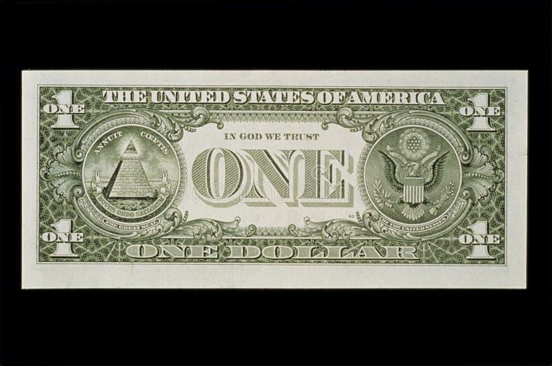 Bak av den en dollarbillen arkivfoton