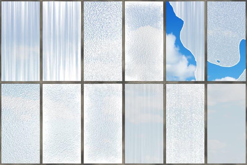 bak blåa gammala skyfönster royaltyfri illustrationer