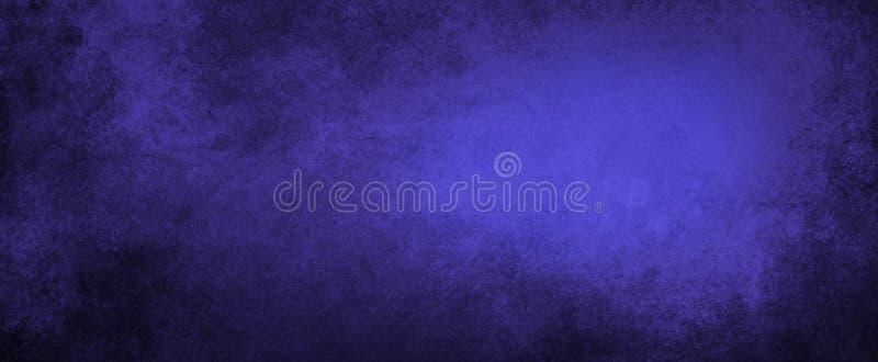 Bak blauwe achtergrond met zwarte grungetextuur, geweven saffier blauwe afgesponste verf op cement of metaalmuur vector illustratie