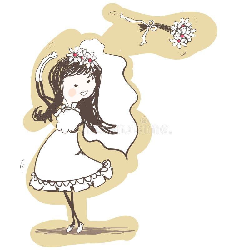 bak bukettbrud henne kasta bröllop vektor illustrationer