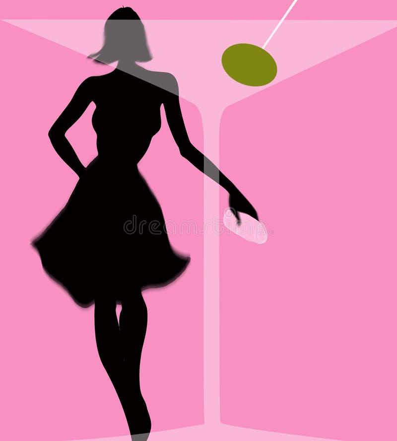 bak den glass martini olivgrönkvinnan vektor illustrationer
