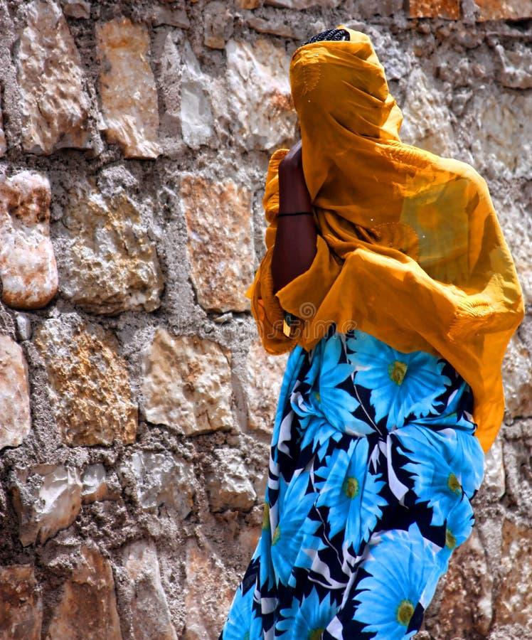 bak ethiopian skyla kvinnan arkivbilder