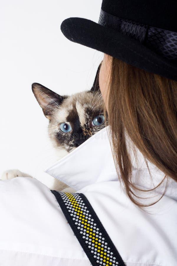 bak kattflicka ser hatten ut arkivbild