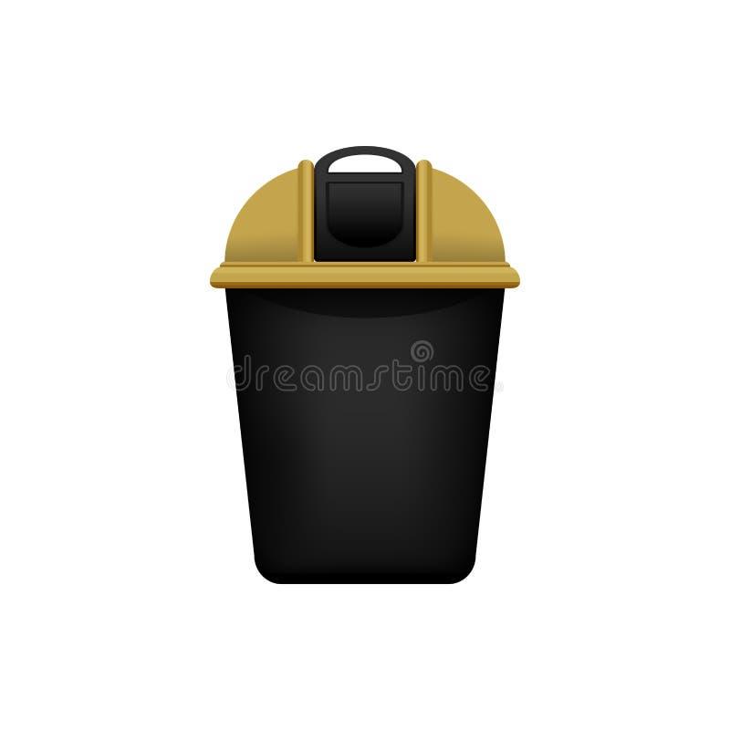 Bak, Kringloop gouden kleine die bak voor afval op witte achtergrond, Gouden bak met kringloopafvalsymbool wordt geïsoleerd, voor vector illustratie