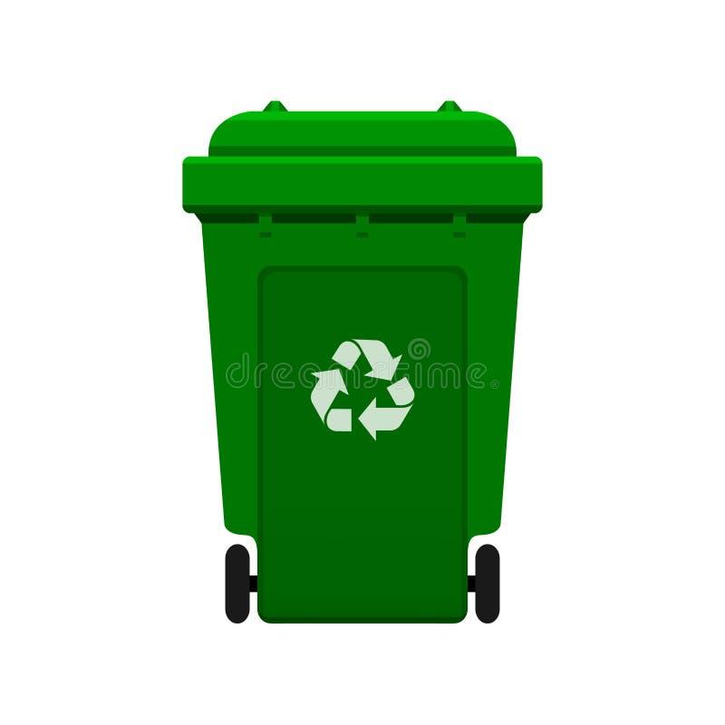 Bak, Kringloop plastic groene die wheeliebak voor afval op witte achtergrond, Groene bak met kringloopafvalsymbool wordt geïsole royalty-vrije illustratie