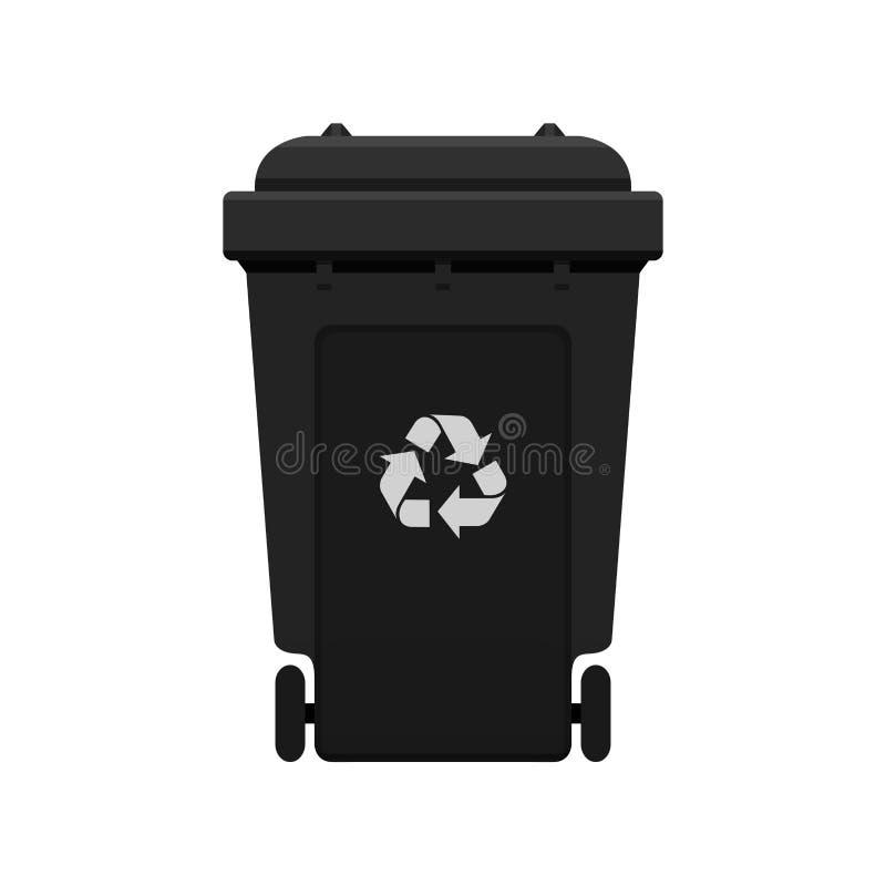 Bak, Kringloop plastic zwarte die wheeliebak voor afval op witte achtergrond, Zwarte bak met kringloopafvalsymbool wordt geïsolee vector illustratie