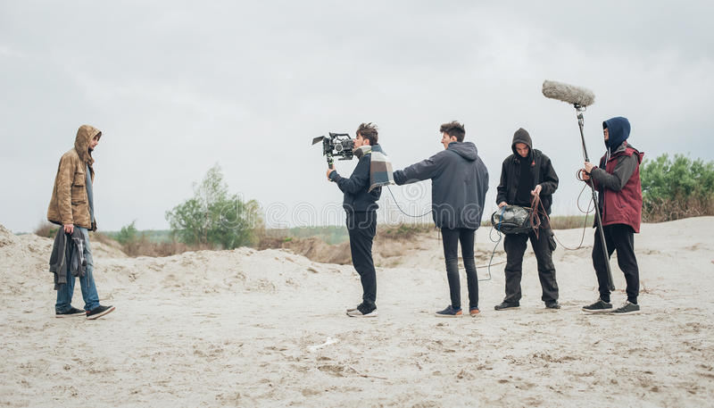 bak plats Utomhus- plats för film för filmande för filmbesättning royaltyfria bilder