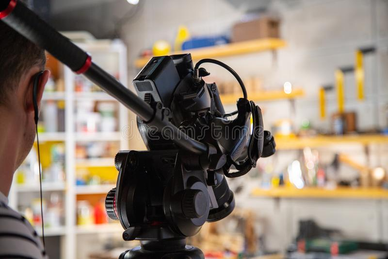 Bak platserna av video produktion- eller videoskytte arkivbilder