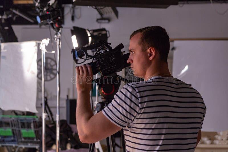 Bak platserna av video produktion- eller videoskytte royaltyfri bild