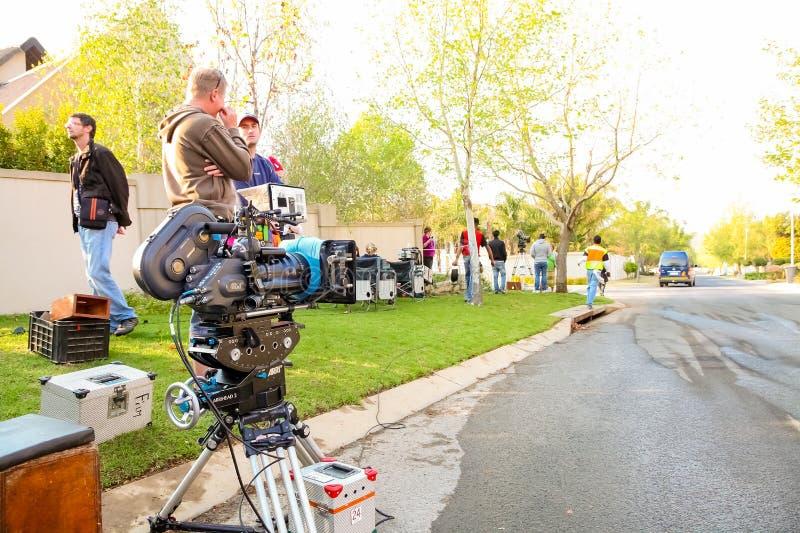 Bak platserna på en uppsättning för televisionannonsfilm på läge royaltyfri foto