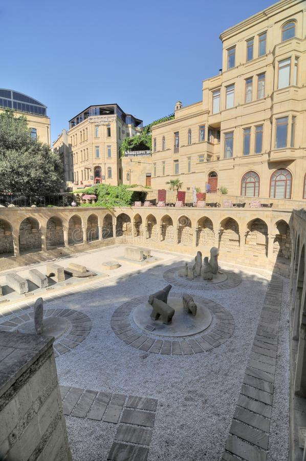 Bak town. Vestige of the ancient market place in old inner Baku, with vaults and stone constructions, Azerbaijan stock photography