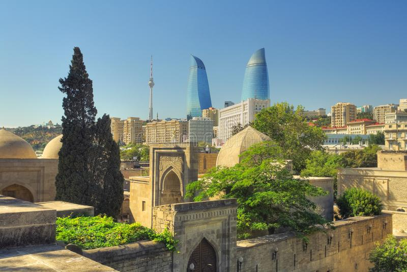 Bak town. Vestige of the ancient market place in old inner Baku, with vaults and stone constructions, Azerbaijan royalty free stock photography