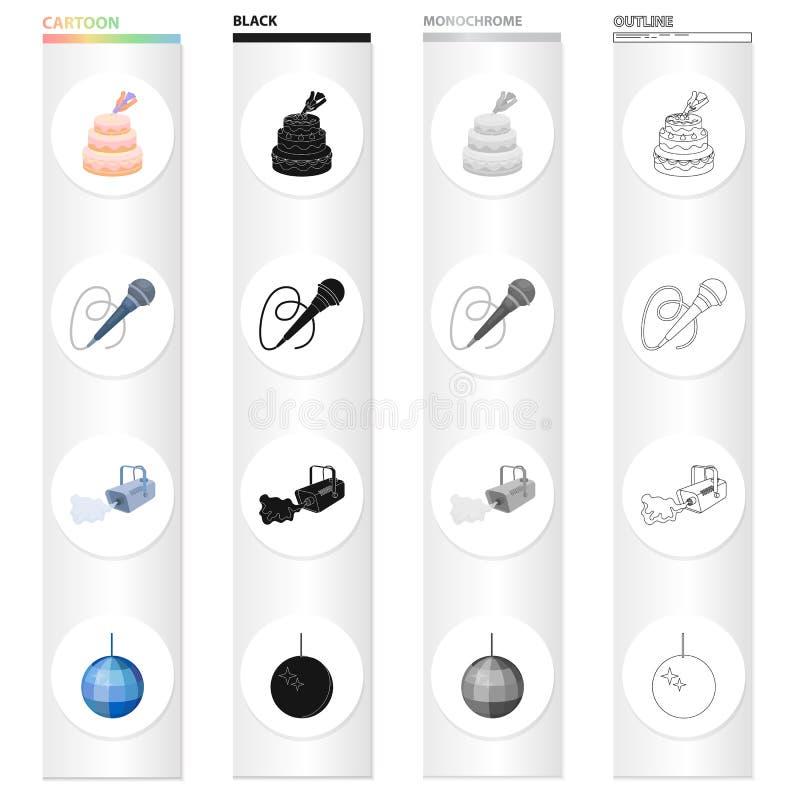 Baka ihop garnering, en mikrofon för att föra en händelse, en rökväxt, en glittra boll Samling för händelseserviceuppsättning stock illustrationer