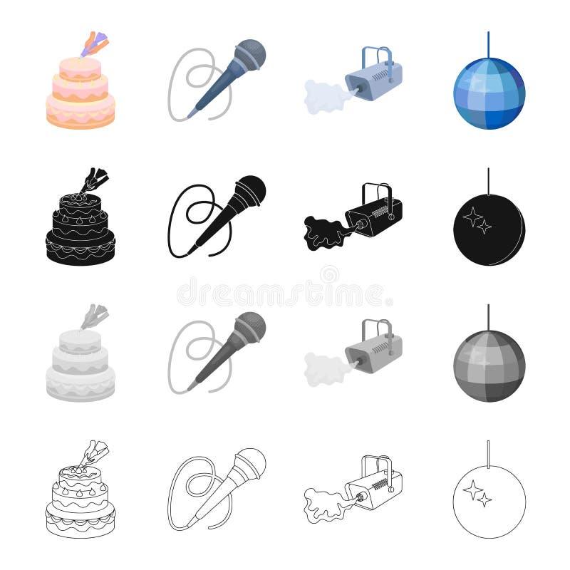 Baka ihop garnering, en mikrofon för att föra en händelse, en rökväxt, en glittra boll Samling för händelseserviceuppsättning royaltyfri illustrationer