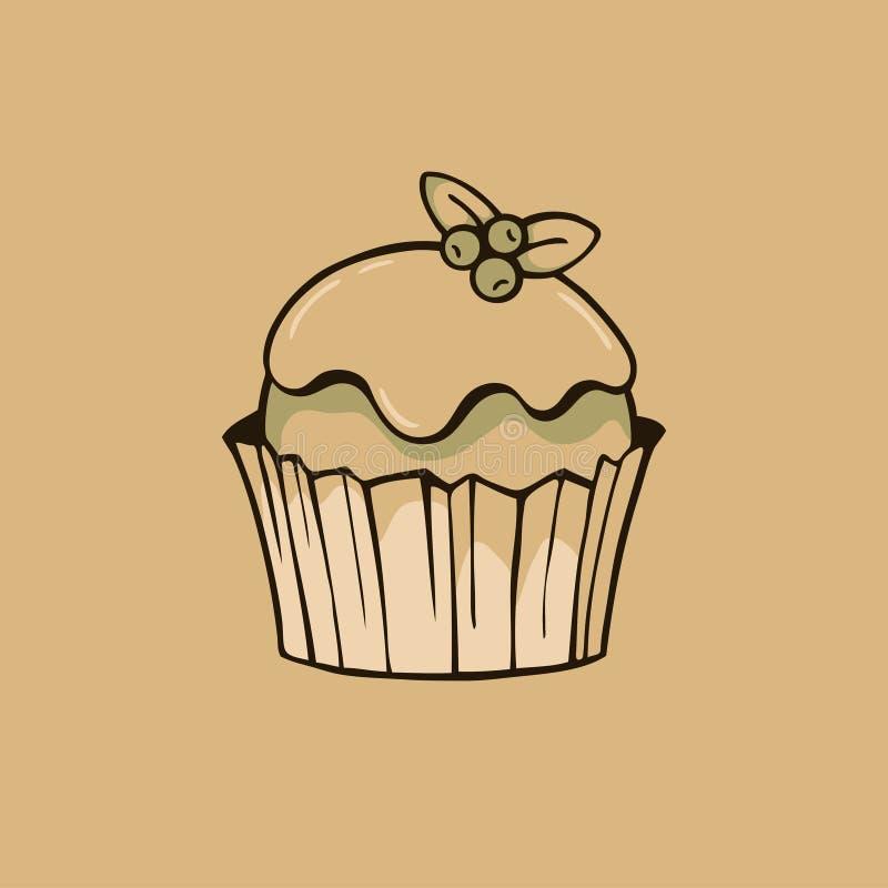 Baka ihop med glasyr på kaka och blåbär på bakgrund för kraft papper vektor illustrationer