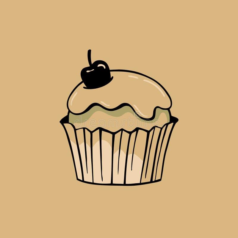 Baka ihop med glasyr på kaka och körsbäret på bakgrund för kraft papper stock illustrationer
