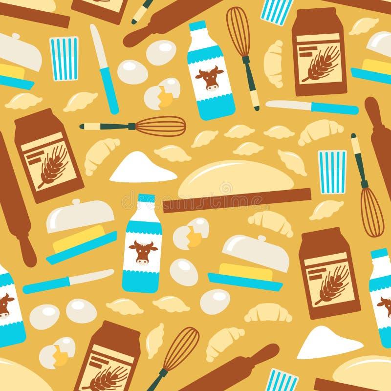 Baka och laga mat den sömlösa modellen för hjälpmedel royaltyfri illustrationer