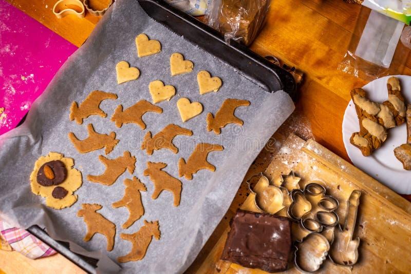 Baka traditionell tjeckisk jul pepparkaka, panna med att baka papper, former, skärare, deg och andra ingredienser royaltyfri bild