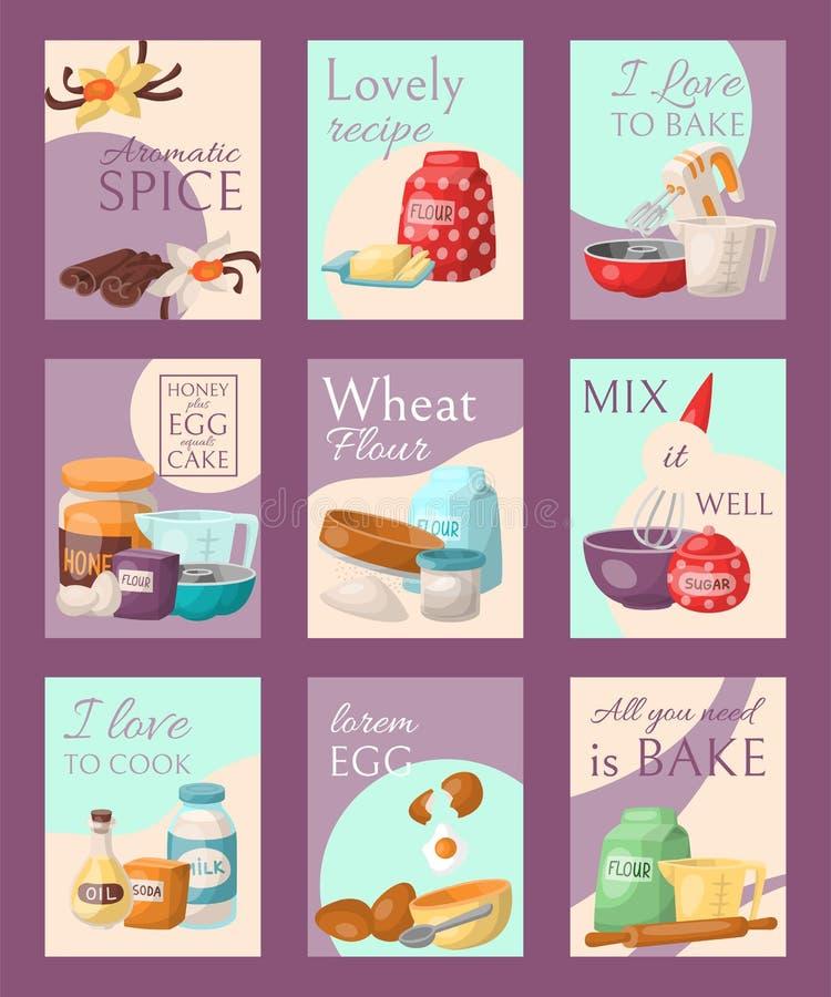 Baka uppsättningen av kortvektorillustrationen Den aromatiska kryddan, älskvärt recept, älskar jag för att baka eller laga mat, h vektor illustrationer