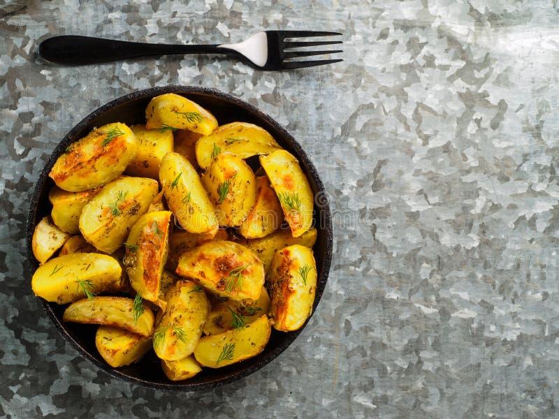 Bakad bästa sikt för potatisar royaltyfri fotografi