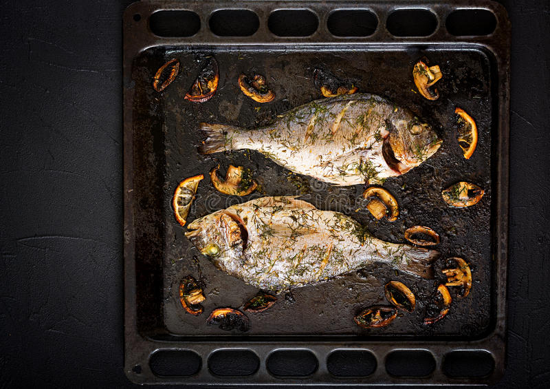 Bakad doradofisk i vitlökdillsås med champinjoner och citronen royaltyfria bilder
