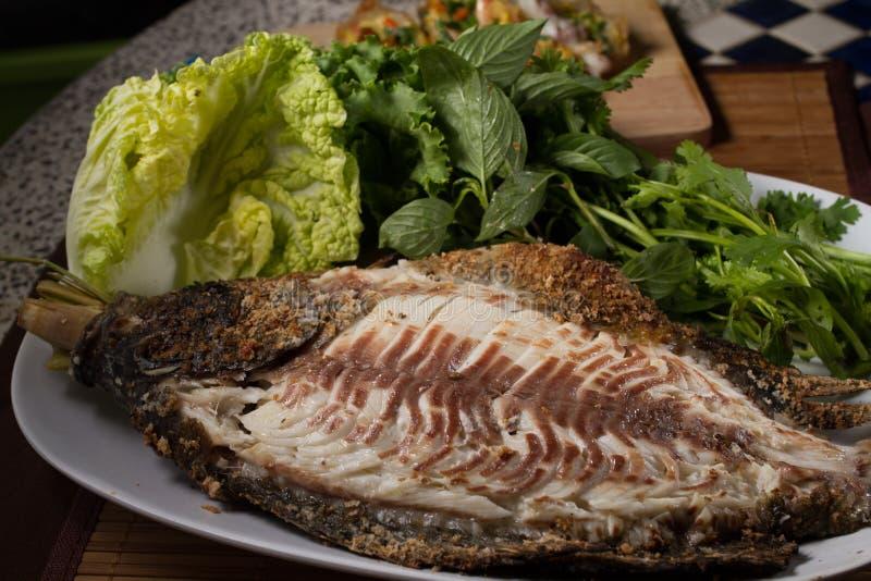 Bakad fisk med havs- sås royaltyfria foton