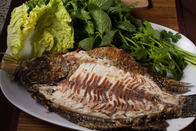Bakad fisk med havs- sås fotografering för bildbyråer