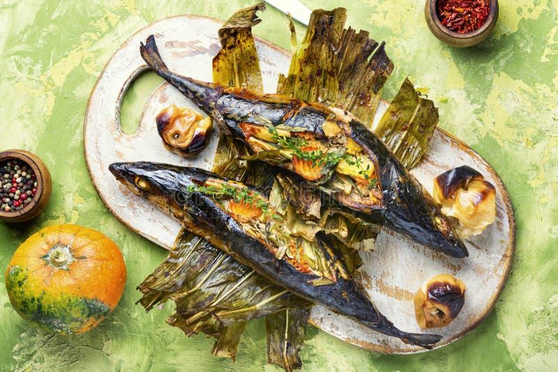 Bakad fisk med pumpafyllning arkivfoto
