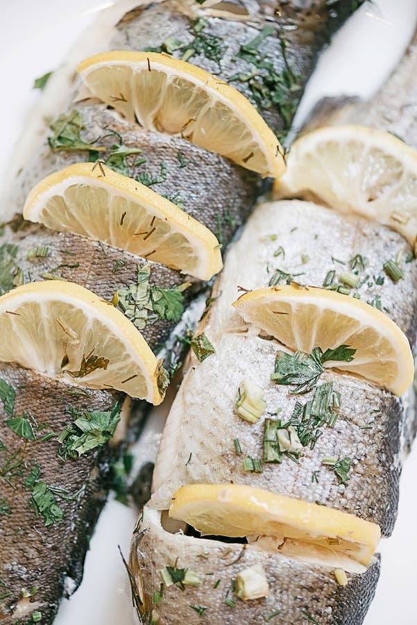 Bakad fiskforellmaträtt, närbild royaltyfria foton
