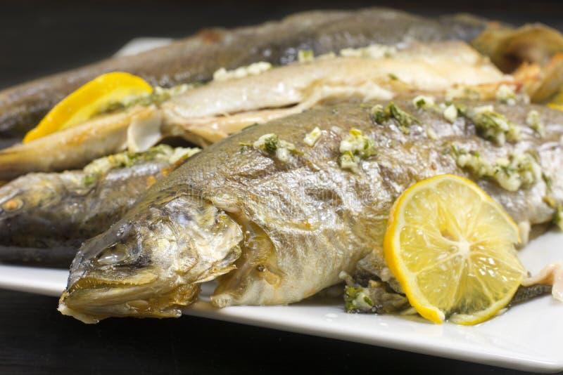 Bakad forellfisk som tjänas som på en platta royaltyfri bild