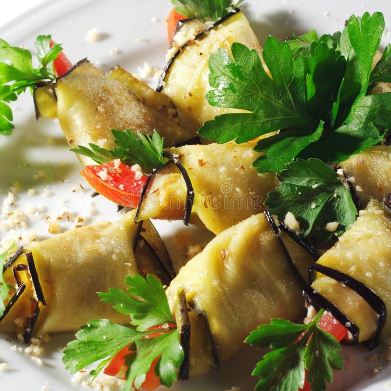bakad maträttauberginesida royaltyfria bilder