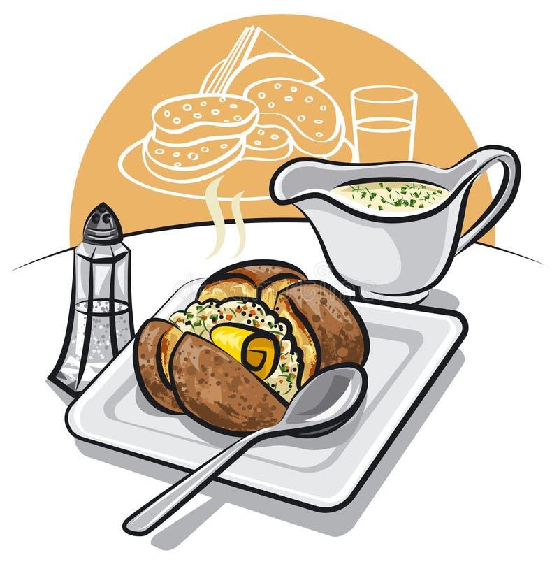 bakad potatissås royaltyfri illustrationer