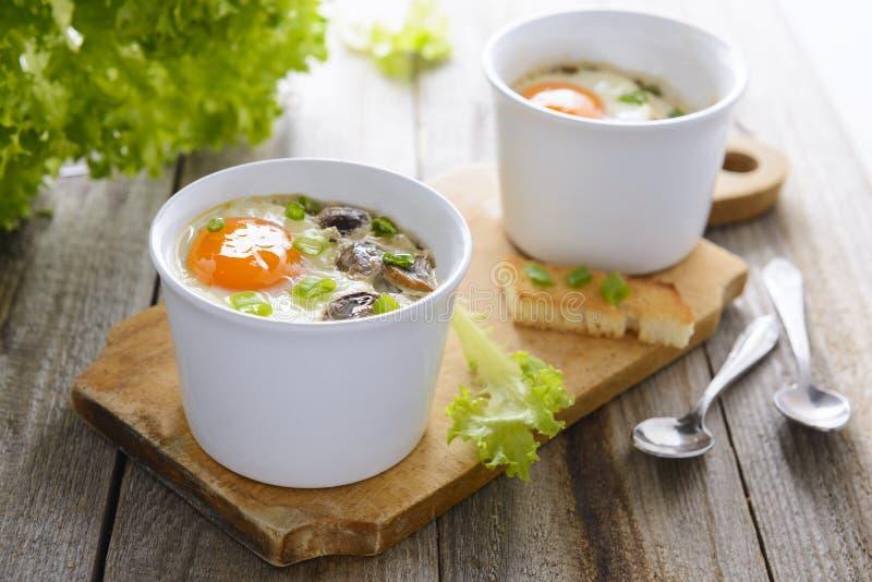 Bakade ägg med champinjoner, kräm och gräslökar arkivfoto