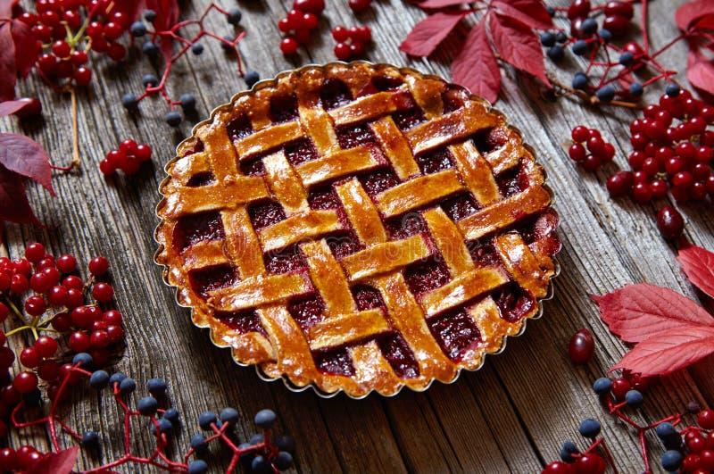 Bakade den syrliga kakan för tacksägelsehallonpajen bakelsemat på den lantliga tabellen Idérik sammansättningsgarnering för höst royaltyfri bild