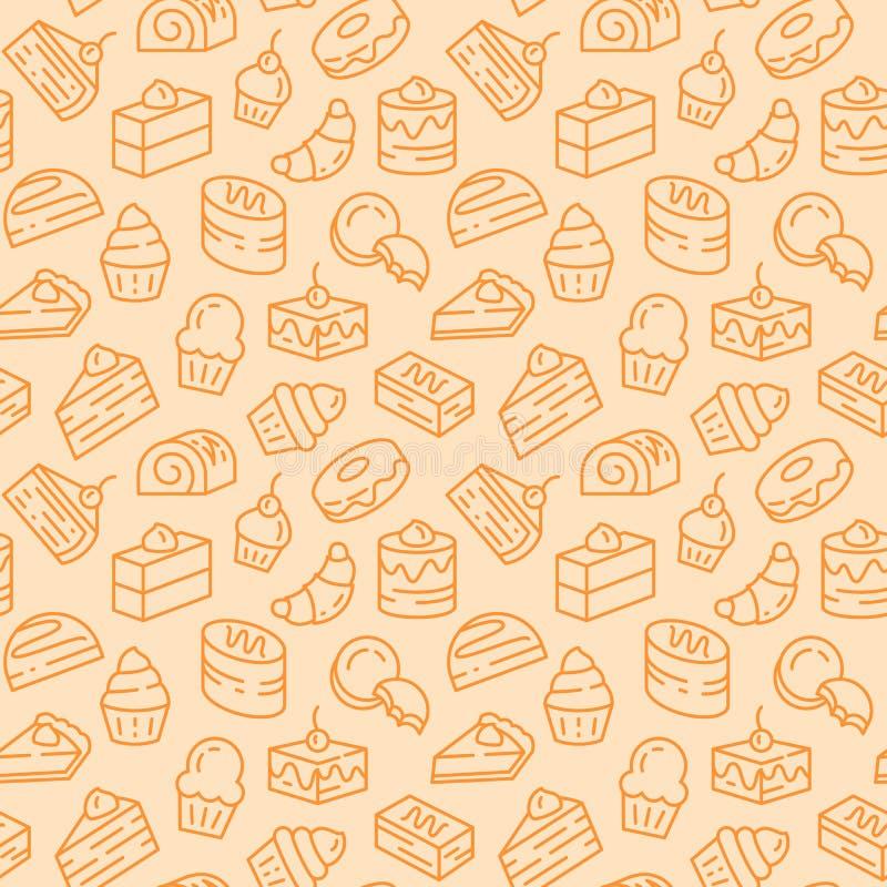 Bakade efterrätter gällde den sömlösa modellen med kakor, kex och pajen i linjen konst med den redigerbara slaglängden royaltyfri illustrationer