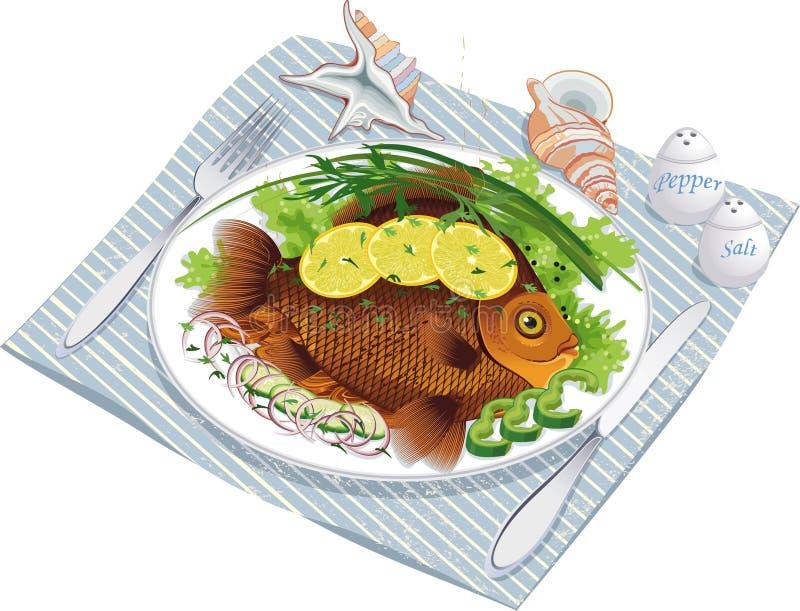 bakade fiskplattagrönsaker royaltyfri illustrationer