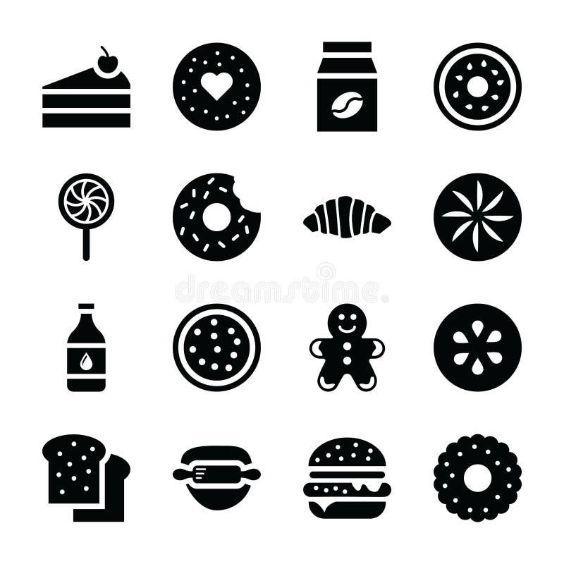 Bakade matsymboler vektor illustrationer