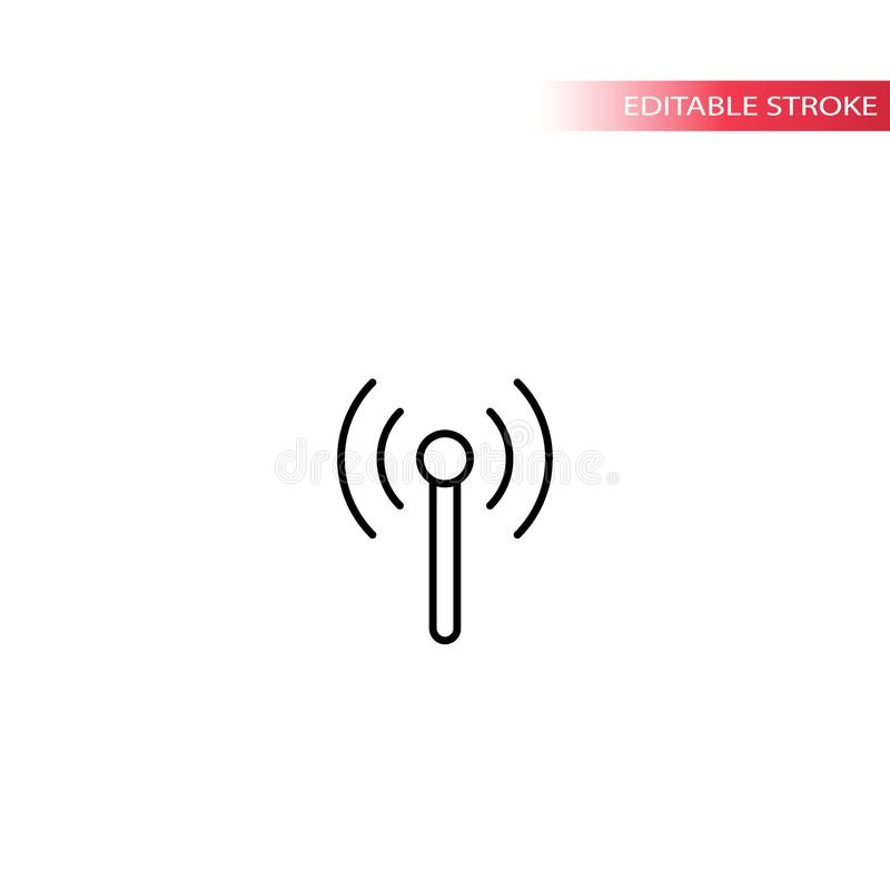 Bakanu radia sygnału cienka kreskowa wektorowa ikona ilustracja wektor
